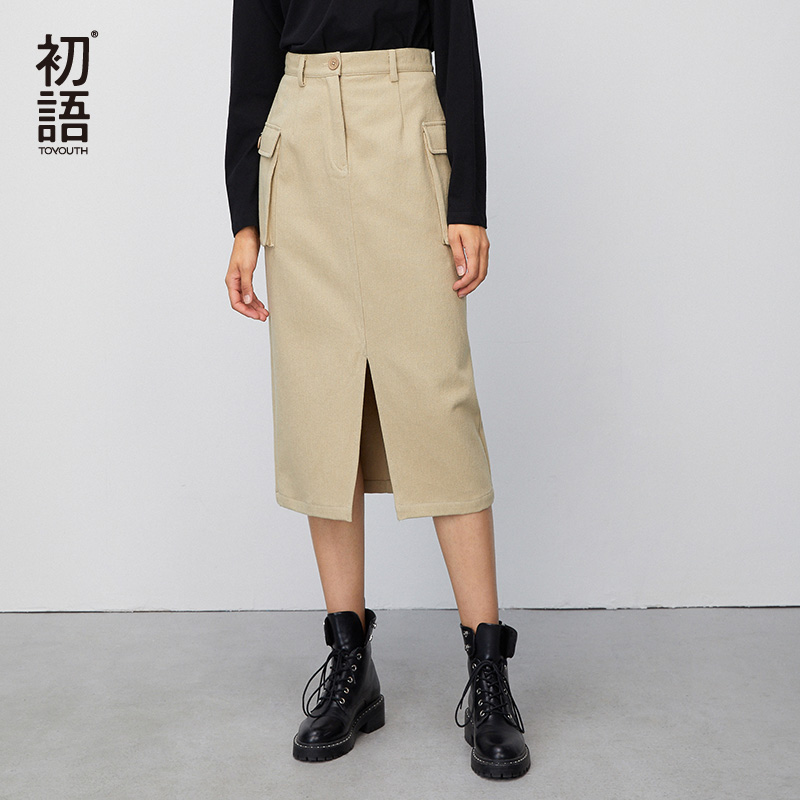 Toyouth 2020 Fashion Cotton Simple Women Worker High Waist Skirts A-Line Casual Office Ladies Trendy Knee Length Female Skirts