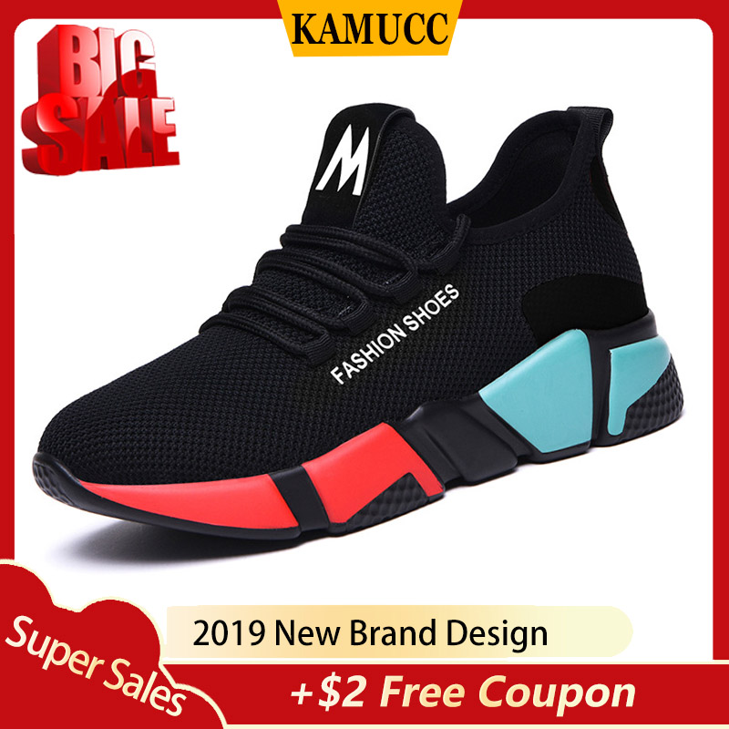 Kamucc 2019 Spring New Women Casual Shoes Fshion Breathable Lightweight Walking Mesh Lace Up Flat Shoes Sneakers Women 36-40