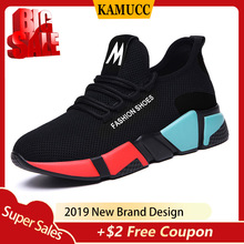Kamucc 2019 Spring New Women Casual Shoes Fshion Breathable Lightweight Walking Mesh Lace Up Flat Sneakers 36-40