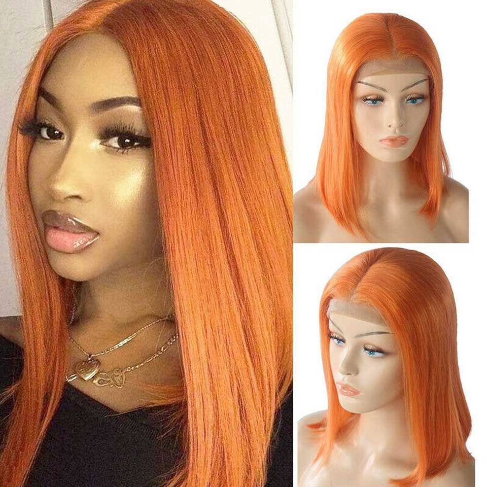 Colored 350 Bob Wigs Lace Frontal Wig Straight Short Glueless Lace Front Human Hair Wigs Remy Brazilian Wigs For Black Women