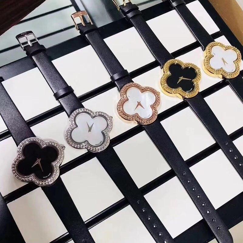 Marque de luxe mode femmes montre chanceux trèfle fille décontracté en cuir dames robe montres or Rose reloj mujer montres femmes