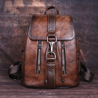 Natural Skin Women Backpack For Girls School Book Bags Daypack Knapsack Retro Female Travel Laptop Bag Genuine Leather Rucksack