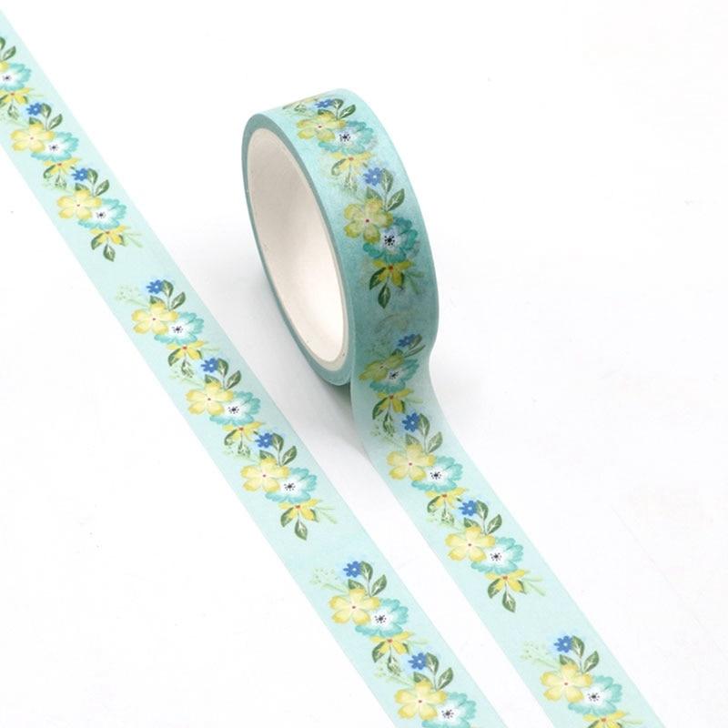 NEW 1pc Cute Yellow And Green Flowers Washi Tape Kawaii Scrapbooking Tool Adhesive Masking Tape Photo Album Diy Decorative Tape