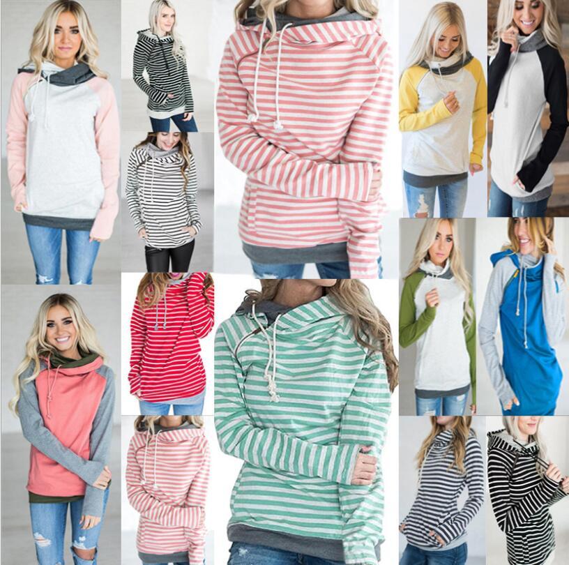 2019 fashion i2u casual Striped Funnel Cowl Neck zipper Hoodie Double Hooded Ampersand Sweatshirt Thumb Hole for Women