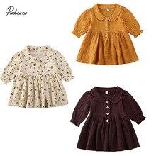 Г. Весенне-осенняя одежда для малышей милые вечерние платья с длинными рукавами и цветочным рисунком для маленьких девочек однотонная одежда От 0 до 4 лет
