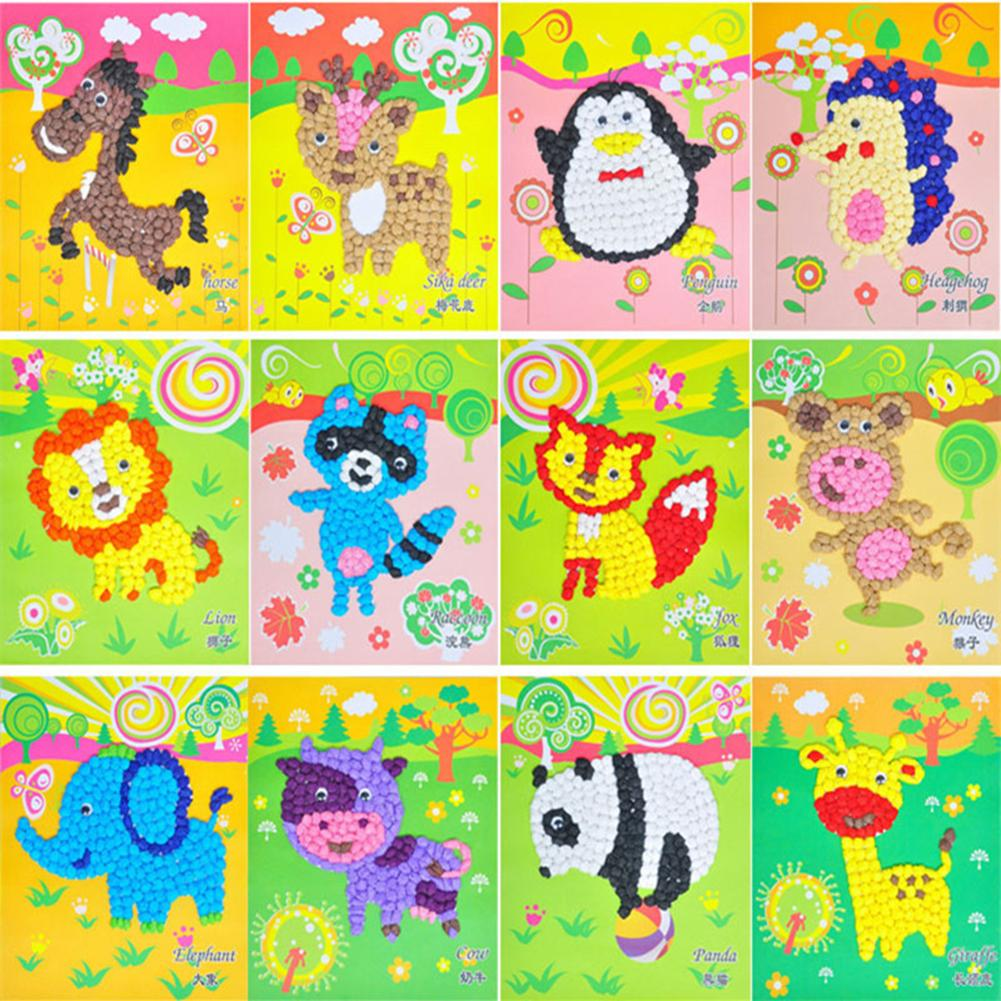 Children Kids Toys Hand-eye Coordination Hand Flexibility DIY Handmade Paper Rubbing Painting Animals Paper Stickers
