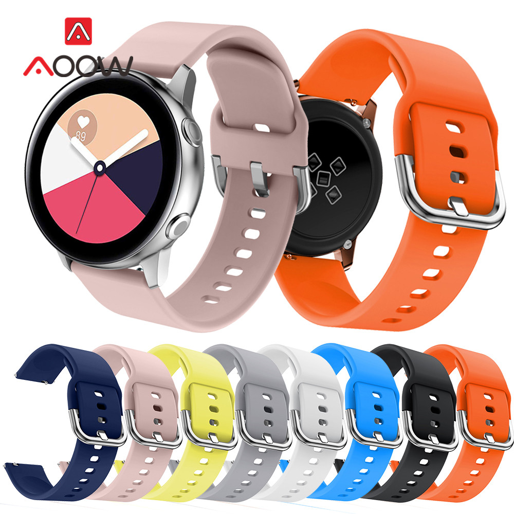 20mm Silicone Watchband For Samsung Galaxy Watch Active 2 42mm Gear S2 Huawei Garmin Amazfit Active2 Replace Bracelet Band Strap