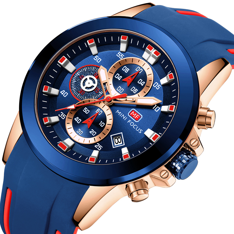 MINI FOCUS Fashion Wrist Watch Men Waterproof Multifunction Sport Clock Men's Wristwatch Quartz Luxury Brand Blue Silicone Strap