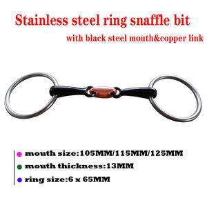 Snaffle-Bit with Copper Elliptical Link. BT0516BS Black Steel-Ring Mouth Steel-Ring