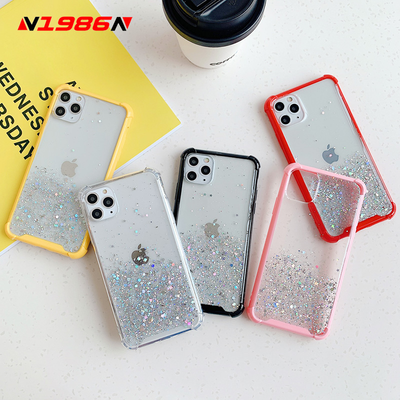 N1986N Phone Case For iPhone 11 Pro X XR XS Max 7 8 Plus SE 2020 Luxury Glitter Bling Star Shockproof Clear Candy Color Cover