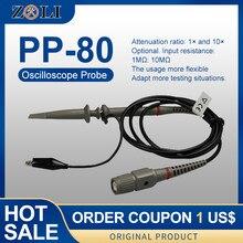 Hantek PP-80 osciloscópio sonda kit 60 mhz baixa atenuação passiva limpedância sonda-50 70 70 graus pp80 lógica analizador sonda