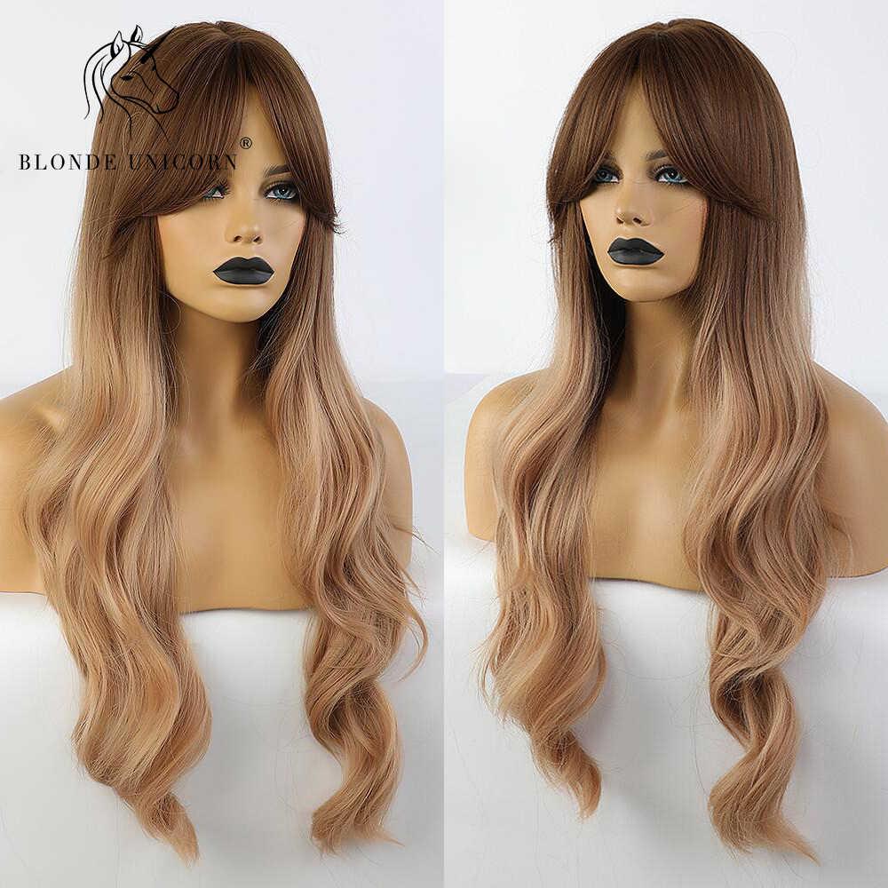 Rambut Pirang Unicorn Sintetis Gelombang Alami Rambut Panjang Wig dengan Sisi Poni Akar Gelap Ombre Coklat Pesta Wig untuk Wanita Kulit Putih 8 Warna