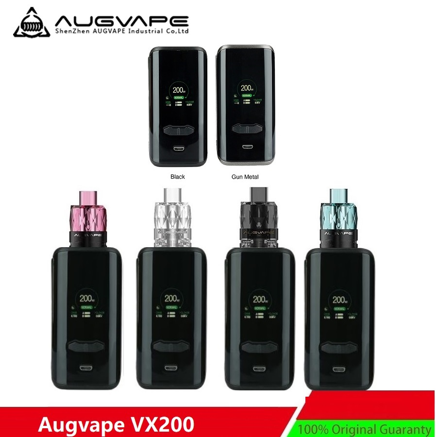 New Original 200W AUGVAPE VX200 TC Box MOD W/ 200W Max Output & 1.3 Inch Large Color Display E-cig Vape Mod VS Drag 2/ Luxe