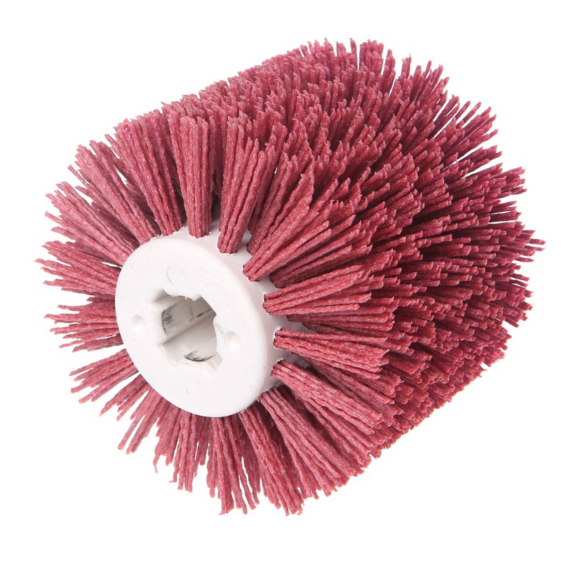 Deburring Red Ceramic Abrasive Wire Round Brushes Head Polishing Buffing Wheel For Furniture Wood Sculpture Rotary Drill Tool|Polishers| |  - title=