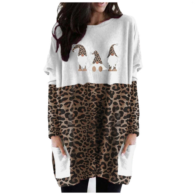 40# Plus Size Women Blouse Sexy Leopard Patchwork Loose Blouse Long Sleeve Christmas Printed O-neck Tops Tee Shirt Plus Size 1