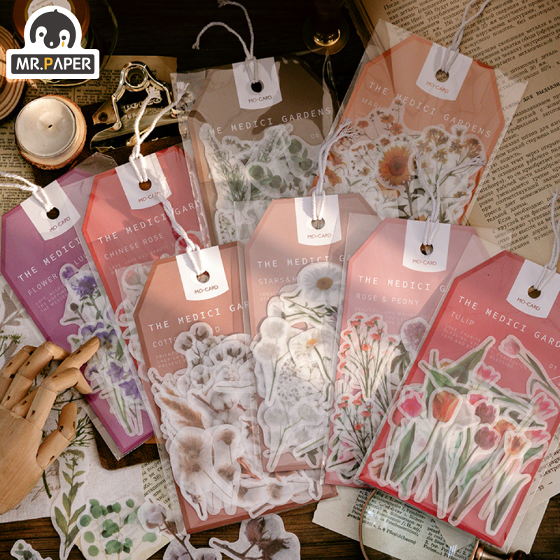 Mr.paper 45Pcs/bag Garden Series Washi Deco Diary Stickers Scrapbooking Pad Planner Decorative Stationery Stickers Accessories