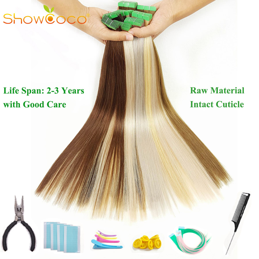 ShowCoco Tape Hair Extensions Human Hair Virgin Remy Hair One Donor Cuticle Intact Green Tape 10A Salon Quality Tape Extension