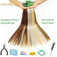 ShowCoco bande Extensions de cheveux cheveux humains vierge Remy cheveux un donneur cuticule intacte bande verte 10A Salon qualité ruban Extension