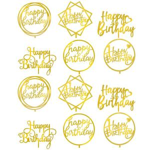 12Pcs Acrylic Double-Sided Mirror Birthday Cake Insert Card Baking Decoration Happy Birthday Cake Card Cake Topper(Golden)