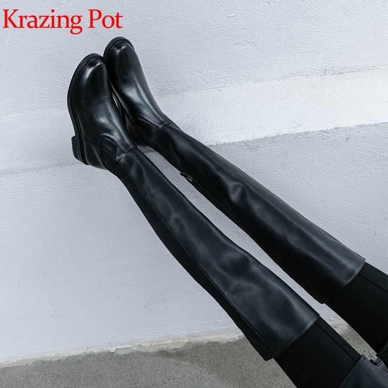 Krazing Nồi Nam Da Thật 2019 Chính Hãng Da Giày Gót Thấp Ngắn Gọn Phong Cách Giữ Ấm Trực Tuyến Ngôi Sao Giữ Chân Mỏng Kéo Dài Hơn- các-Đầu Gối Giày L21