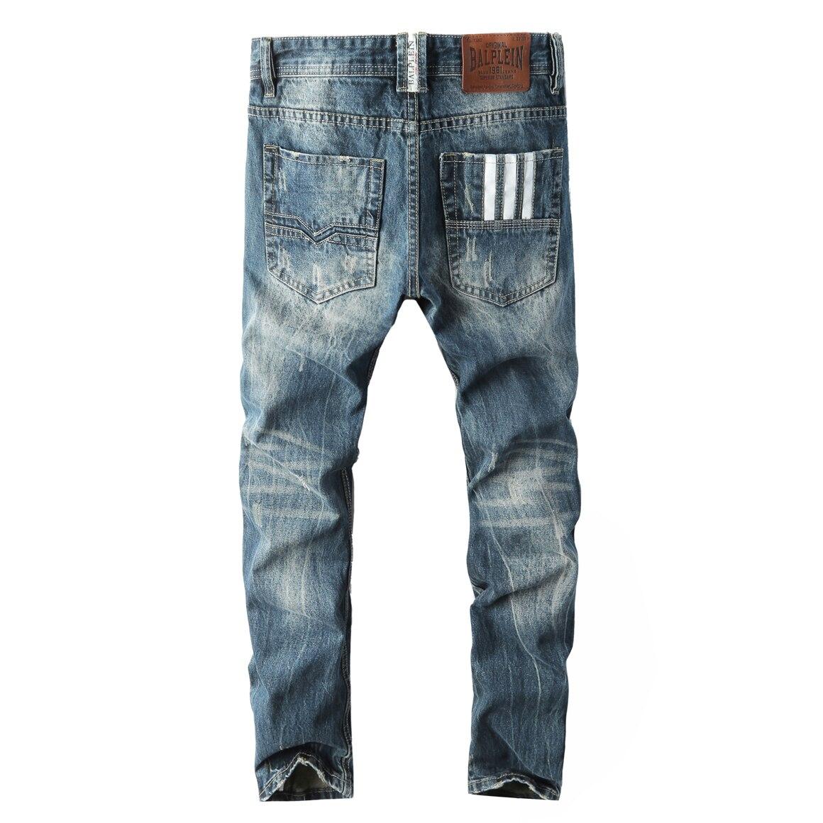 Jeans Men Classic  Mens Button Jeans Blue Jeans Fashion Little Feet Jeans  Ripped Hole Jeans For Men Biker Jean Long Pants 28-42