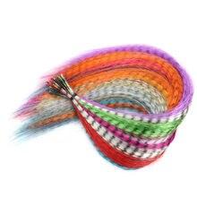 Faux brins de plumes synthétiques colorés arc-en-ciel, extension capillaire pour filles et femmes, fête Cosplay, 10 mèches