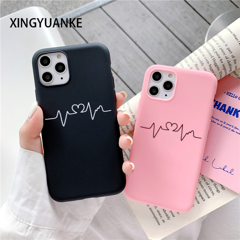 Candy Color Silicone Phone Case For iPhone 12 Mini 11 Pro Max X XR XS Max 7 8 6 6s Plus 5 5s SE 2020 Cute Love Heart Back Cover