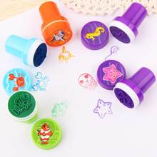 10 unidades/juego de sellos de dibujos animados para niños, dinosaurio, animal marino, patrón de animación, redondos de plástico, sello de juguete DIY con caja