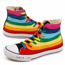 CINESSD Rainbow Canvas Shoes Women Sneakers 2020 Hand Painte