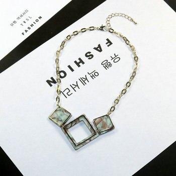 Acrílico azul resina encantos colgante collares para mujeres largo cadena de oro...