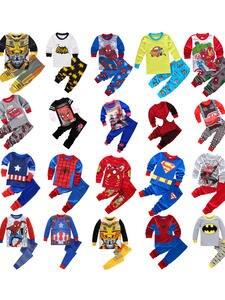Sleepwear Pajamas Nightwear Superman-Sets Spider-Man Avenger Batman Alliance Baby-Boys-Girls