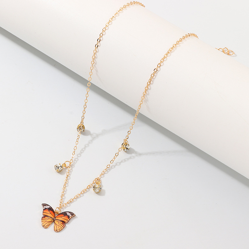 Luxury European Women Butterfly Pendant Necklaces Female Colorful Rhinestone Gold Chain Simple Choker Necklace Jewelry For Girls