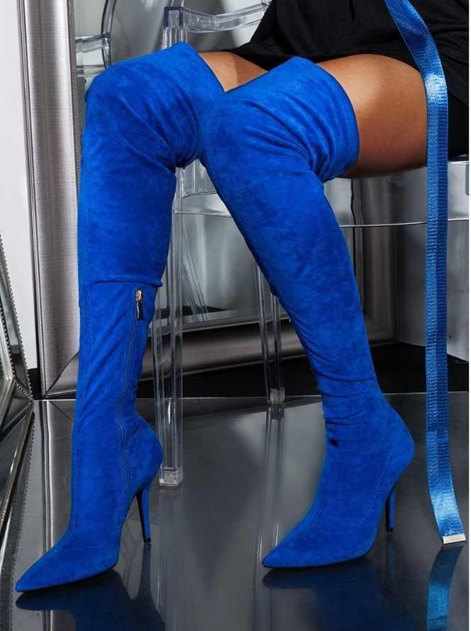 Navy Blue Thigh High Boots Women Suede
