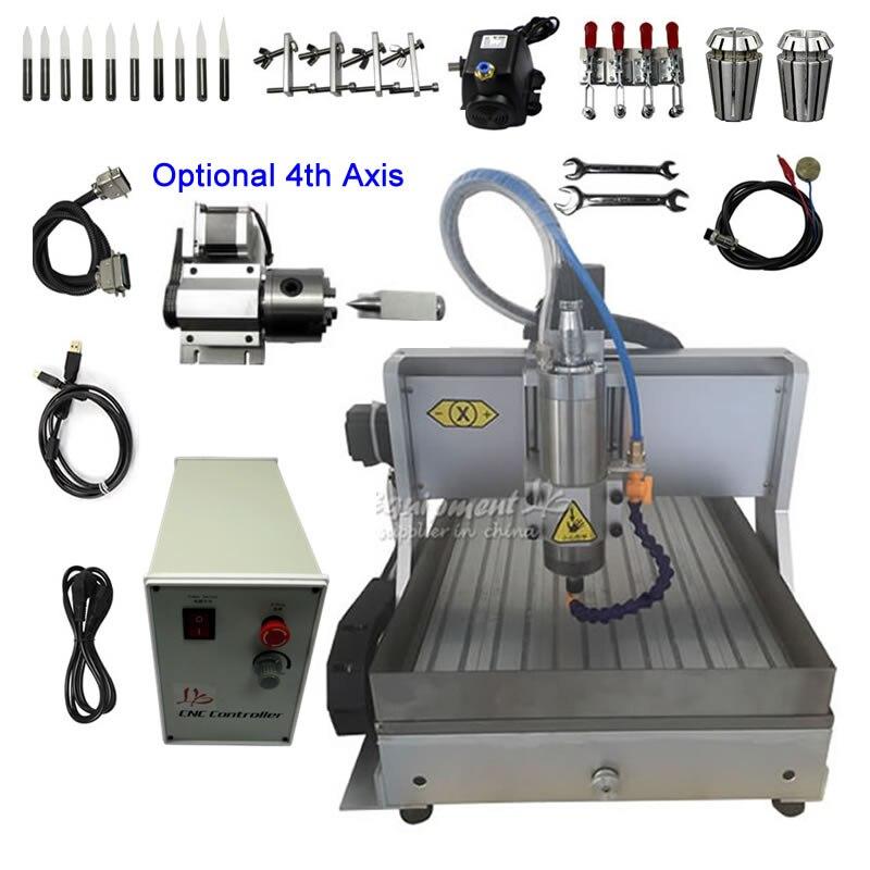 2.2kw 1.5kw cnc máquina de gravura 3040 4 eixos cnc roteador usb paralelo cortador metal tanque água