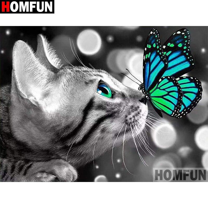 """HOMFUN taladro cuadrado/redondo completo 5D DIY pintura de diamante """"mariposa Gato"""" bordado punto de cruz 5D casa A30021"""