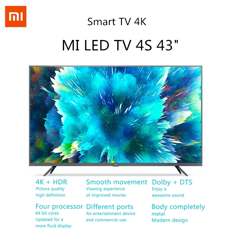 Xiaomi TV 4S 4K HDR Smart TV 2+8GB 43 Inch 3840 x 2160 HD 2.4G/5.8G 5G WIFI bluetooth 4.2 Android 9.0 International ES Version|Smart TV|   - AliExpress