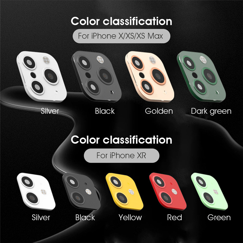 Kowkaka Tempered Glass For IPhone XR X XS Max Camera Lens Protector Cover Change For Iphone 11 Pro Max Colorful Camera Stickers