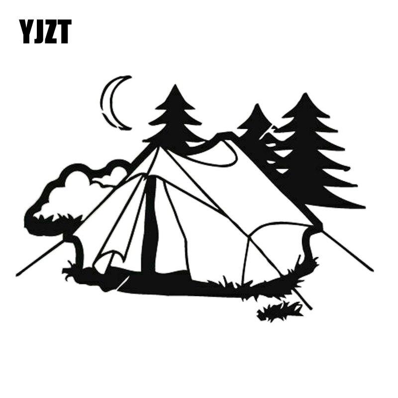 YJZT 17.9CM*12.2CM Tent Camping Nature Rest  Fashion Car Accessories Stickers Black/Silver  C31-0302
