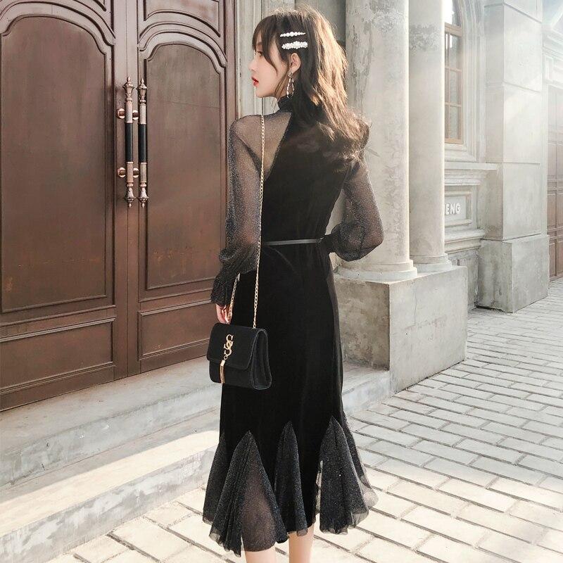 2019 les nouvelles femmes noir bohème robe à manches longues Vintage élégant Sexy Club fête coréenne décontracté dames mode Maxi vêtements - 4