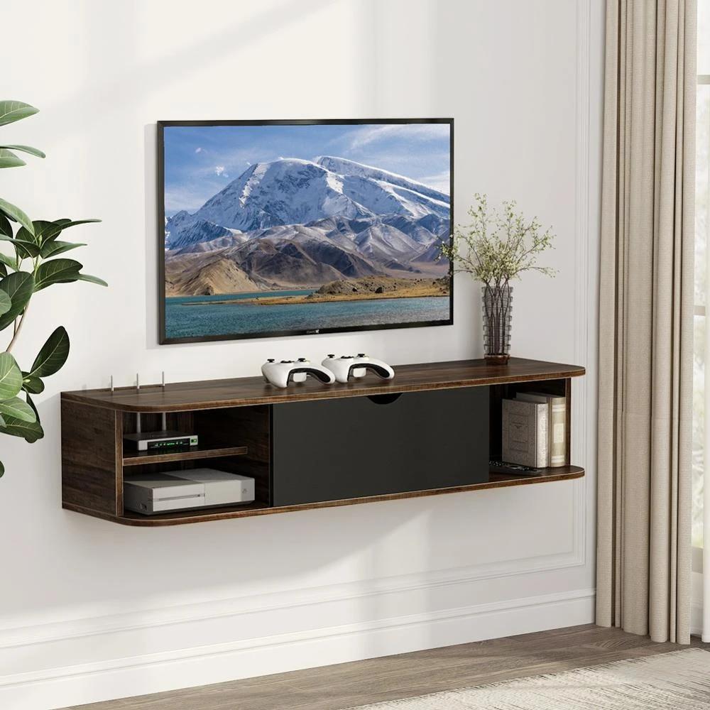 tribesigns rustique mural console multimedia avec porte flottant tv etagere meuble tv 43 3x13x9 8 pouces