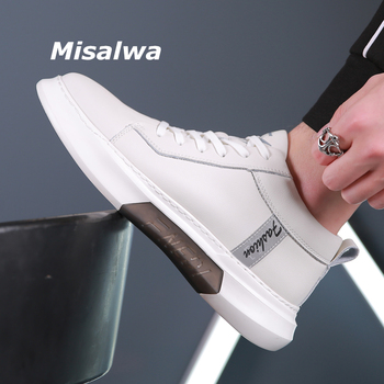 Misalwa Luxury Brand 2020 New Men Sneakers White Cow Split Leather Casual Shoes Spring Summer Loafers Young Boy Soft Shoes