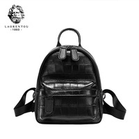 LAORENTOU Women Genuine Leather bag fashion cowhide Crocodile pattern leather backpack tote bag luxury women backpack