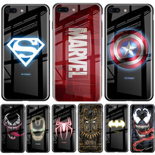 Captain America Lichtgevende Marvel Gehard Glas Case Voor Iphone 11 Pro Max 7 8 6 Plus X Xr Xs Superman spiderman Avengers Cover(China)