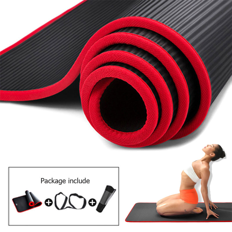 10MM Yoga Mat NRB Non-slip Mats For Fitness Extra Thick Pilates Gym Exercise Pads Carpet Mat With Bandages  Edge-covered XA146A