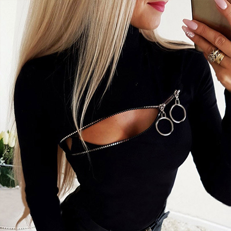 Blouse Tops Shirt For Women Long Sleeve Hallow Out Female Solid Black Tops Tee Shirt Slim Fit Lady Tops And Blouses Blusas H30