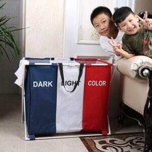 Shushi panier à linge pliable à 3 cases | Panier à linge pliable de rangement à domicile, panier à linge de rangement extra grand