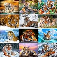 DIY Tiger 5D Diamond Painting Full Round Drill Animal Diamond Embroidery Mosaic Cross Stitch Rhinestone Kits Home Decor
