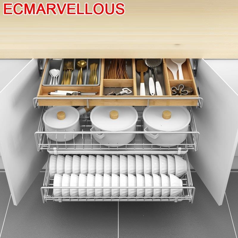 Organisateur Para Almacenaje Armario Platos garde-manger égouttoir à vaisselle en acier inoxydable organisateur étagère armoires de cuisine panier de rangement