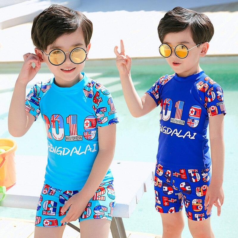KID'S Swimwear 19 New Style Hot Sales Cross Border Short Sleeve Shorts Split Type Stand Collar Cartoon Colorful Lettered BOY'S S