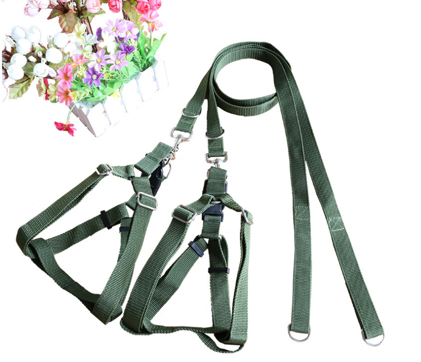 Big Dog Hand Holding Rope Set Chest And Back Army Green Large Dog Hand Holding Rope Neck Ring Retractable M-
